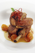 Slow braised wild duck with sweet and sour kumquat jus