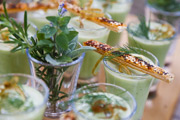 Garden pea gazpacho with sesame and paprika galette