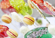 Macaroons, fruited lollies and white chocolate truffle sweet treat boxes
