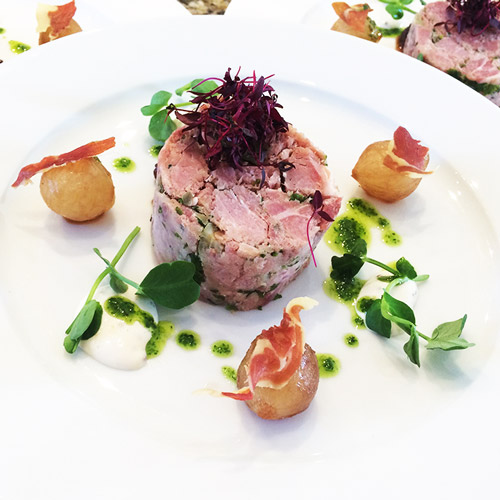 Pressed ham hock and parsley, roasted bay onion with herb oil