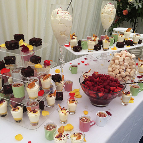 Summer dessert stall, including Eton Mess and lavender poached berries